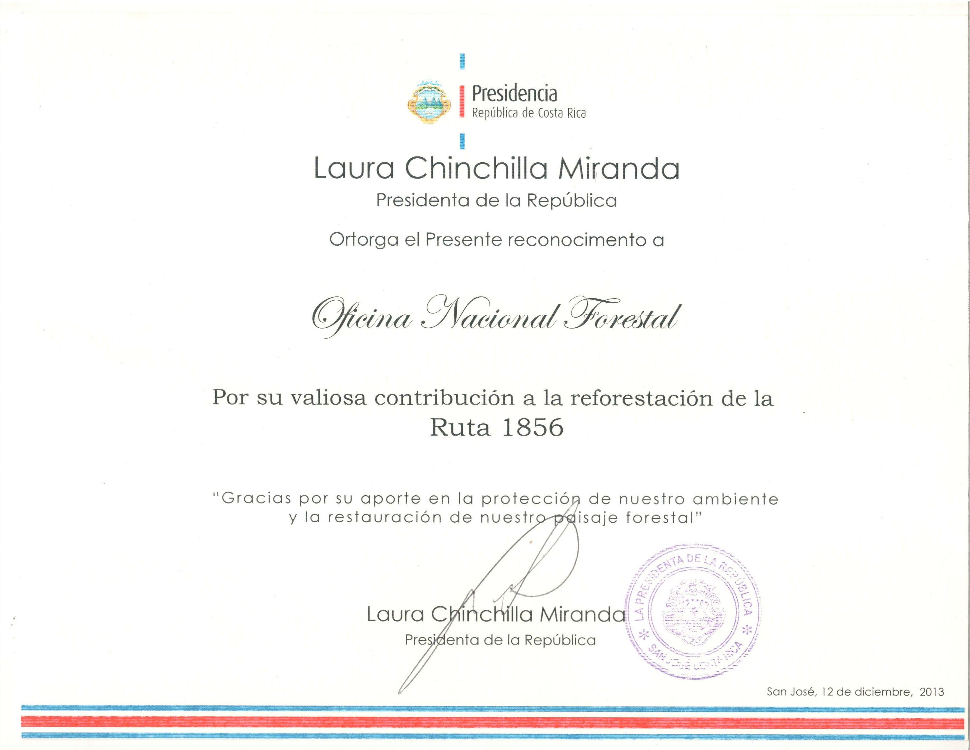 Presidenta hace reconocimiento a voluntarios que participaron en reforestación de la Ruta 1856